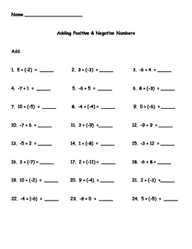 Adding And Subtracting Positive And Negative Numbers Worksheet ...