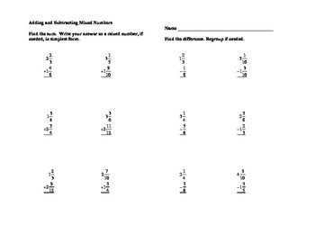 Subtraction » Worksheet Subtraction Of Mixed Numbers - Free Math ...