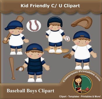 Baseball Boys Clipart Set. 0.0. Set includes all items pictured in