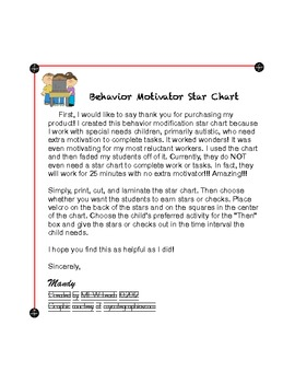 Star Behavior Chart http://www.teacherspayteachers.com/Product/Behavior-Star-Chart