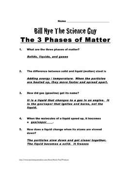 Bill nye worksheets phases of matter