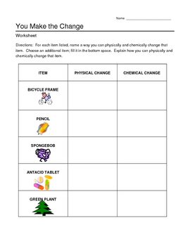 Chemical and Physical Changes Worksheet http://www.teacherspayteachers.com/Product/Chemical-and-Physical-Changes-Review-Worksheet