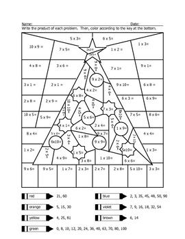 Multiplication Coloring Sheets on Christmas Tree Multiplication ...
