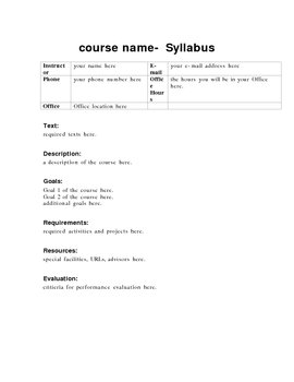 Courses for teachers course syllabus template for teachers for Create a syllabus template