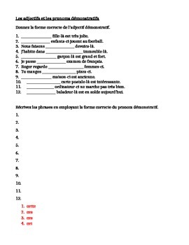 French Demonstrative Pronouns http://www.teacherspayteachers.com/Product/Demonstrative-adjectives-pronouns-worksheet-3