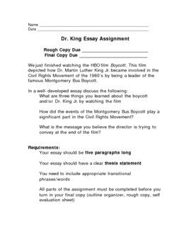 Martin Luther King Jr Research Paper Outline