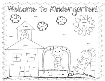 First Day Coloring Worksheet {Kindergarten}