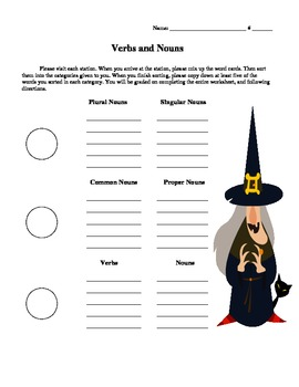 Halloween Craft Ideas  Grade on Halloween Verb And Noun Sort   3rd Grade   Plurals  Common  Proper