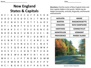 New England Capitals and States http://www.teacherspayteachers.com/Product/My-Name-is-Maria-Isabel-Spelling-Words-Search