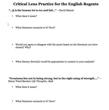 New York State English Regents Critical Lens Essay