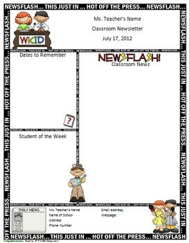 Free Word Newsletter Templates  Pin Newsletter Templates School