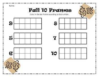 Ten Frame Template http://www.teacherspayteachers.com/Product/Halloween-10-Frames