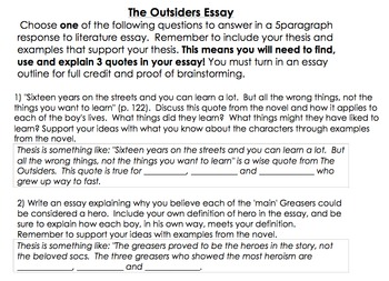persuasive essays on the outsiders Get an answer for 'in the book, 'the outsiders' by se hinton, who could be the three heroes and whyi have to write an essay on who can be the 3 heroes in the outsiders ihave johnny as a hero and i have darry as a hero too.