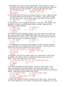 worksheet: Algebra 2 Word Problems Worksheets Worksheet Answer ...